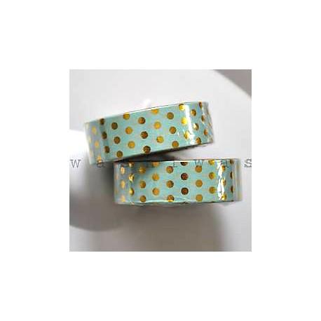 washi páska zlatá bodka na zelenej
