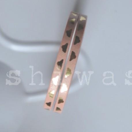 washi páska extra slim ornament zlatý na ružovej